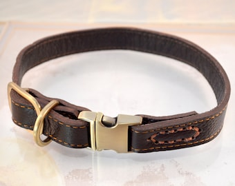 "Leather Dog Collar Snap On For Quick Release Brass Real Genuine Leather Dark Brown For Small to Large Breed Dogs -  7"" to 21"""