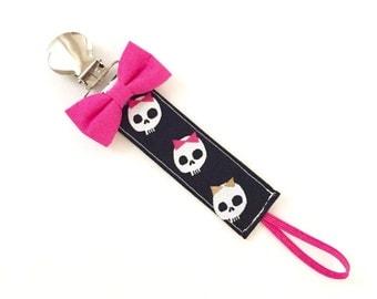Pacifier Clip - Girly Skulls