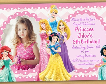 Disney Princess Birthday Invitation, Disney Princess Invitation, Princess Invitation, girls Birthday Invitation- Digital file