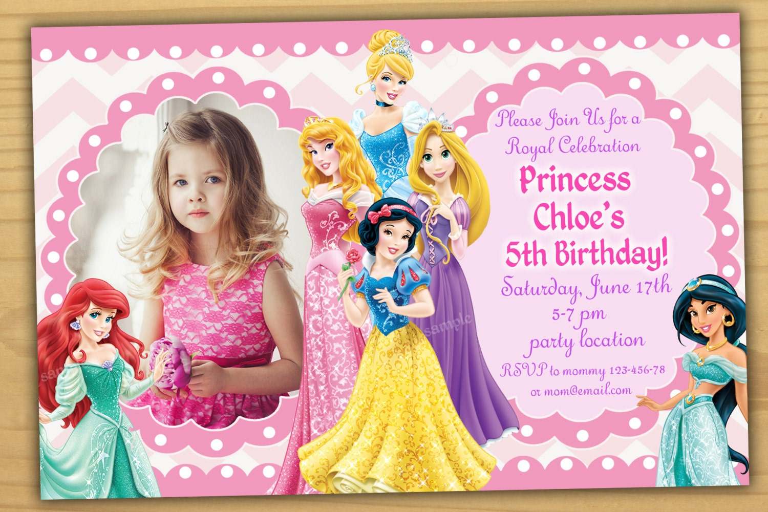 disney princess birthday invitation disney princess, Birthday invitations