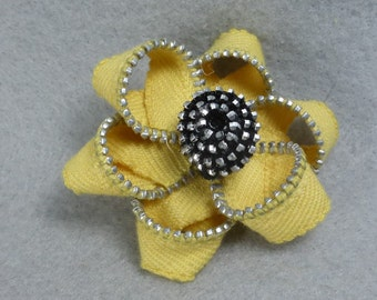 Yellow Flower Brooch - Upcycled - Recycled - Repurposed - Flower Brooch - Zipper Brooch - Zipper Pin - Zipper Flower - Flower Pin - Jewelry