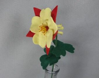 Yellow Felt Columbine - Artificial Flower on a Stem - Felt Flower - Fake Flower - Colorado Columbine - Fake Columbine - Yellow Flower