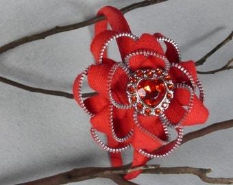 Red Flower Headband - Zipper Flower - Zipper Headband - Upcycled - Recycled -Repurposed -Girls Headband -Womens Headband -Baby Headband