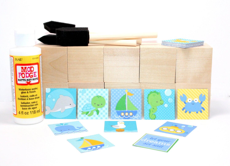 Diy block kit activity baby shower craft wood blocks for Child craft wooden blocks
