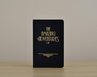 Pocket Travel Journal A6   BLACK & LUNA GOLD   Rustic Foil Letterpress - Amazing Adventures of...