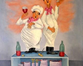 "Fine Art Print - ""Singing Chefs""  Print by Napolske Art Painting"