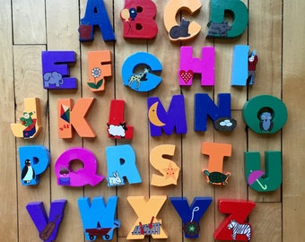Vintage Hand Painted Wooden Alphabet Letters