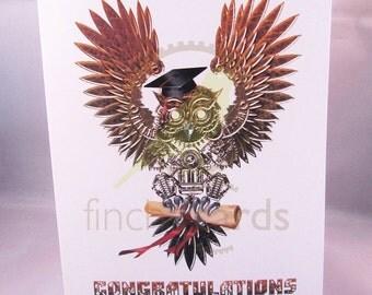 Steampunk Congratulations Owl Graduation Blank Card, Graduation Card, Owl Card, UK
