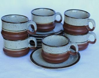 Retro Stoneware duo teacup tea set - five (5) cups and five (5) saucers Made in Korea