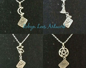 Silver Tarot Card Charm Necklaces with The Hanged Man Skeleton, The Moon, The Magician Hat or The Ace of Pentacles Pentagram