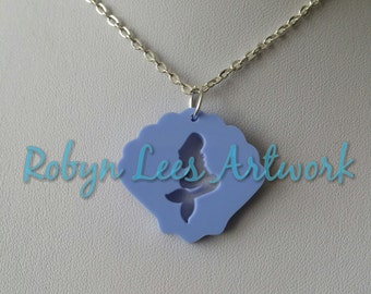 Small Blue Laser Cut Mermaid Shell Seashell Acrylic Charm Necklace on Silver or Gold Crossed Chain or Black Faux Suede Cord, Nautical