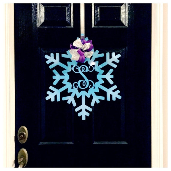 Monogram Front Door Decoration: Snowflake Monogram Door Wreath Front Door By