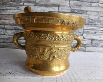 A Vintage Brass Pestal and Mortar