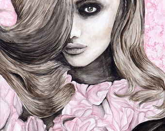 Rose Girl Original Watercolor