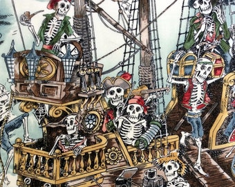 Fabric, Skelewags in Natural Ground/Multi, Alexander Henry, Carribean Pirate Ship Toile Skeleton Skulls, By the Yard