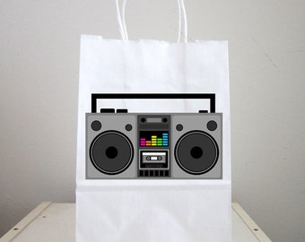 80's Party Goody Bags, Boom Box Goody Bags, 80's Favor Bags, 80's Gift Bags