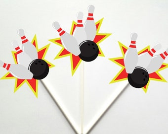 Bowling Cupcake Toppers, Bowling Strike Cupcake Toppers