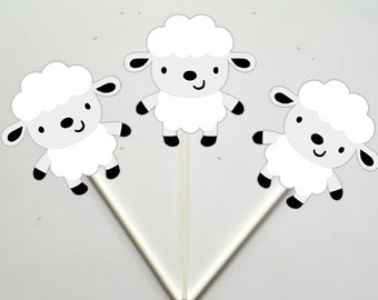 Lamb Cupcake Toppers, Sheep Cupcake Toppers, Farm Animal Cupcake Toppers, Farm Birthday Cupcake Toppers, Animal Cupcake Toppers
