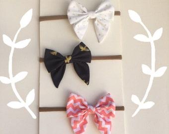 Adorable!! 3 pc.Set sailor bows nylon headbands!!!