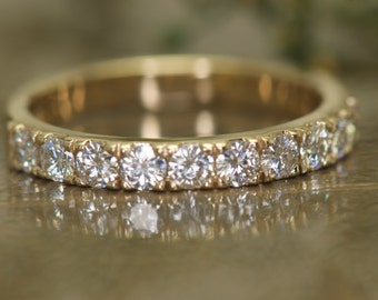 Moissanite Wedding Band in Yellow Gold, Prong Set Wedding Band, 0.90ctw, 5/8 Eternity, 2.7mm Wide, Stackable, Diamond Free, Heather A