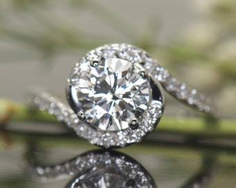 Autumn - Moissanite and Diamond Engagement Ring in White Gold, Round Brilliant Cut, 1/2 Halo an Twisted Split Shank, Free Shipping