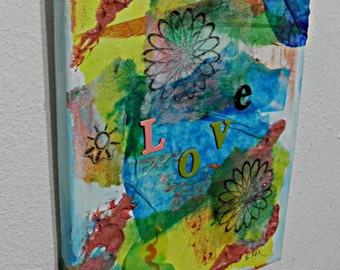 Mixed Media Collage Art 8x10 on Canvas Love theme Original collage