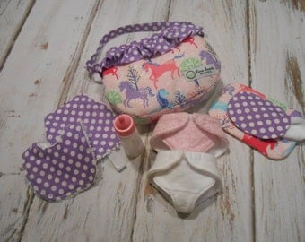 Just Like Mommy - Glitter Horses in Pink - Diaper Bag, Wipe Case with Wipes, and Feeding Set - by Timeless Treasures