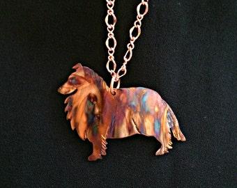 sheltie necklace, sheltie jewelry, shetland sheepdog, collie necklace, collie jewelry, dog jewelry, oxidized copper, flame painted copper