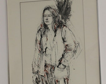 """Mid Century Modern Sophie Fordon Drawing """"Picture of Girl"""" Black Red 1971"""