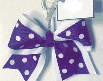 Polka Dot Cheerleading Bow Keychain