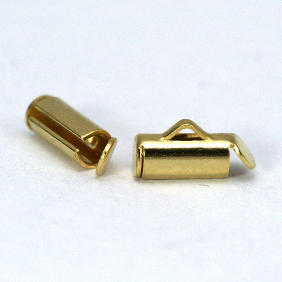 4 pcs 4 x 10 mm round tube with fold-in ends, 2mm inside diameter. end bar, gold plated brass, 1344G rtwf