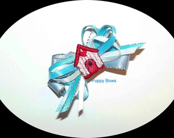 Puppy Bows ~BLUE multi loop Dog house dog bow  pet bands, hair clip or  barrette