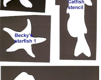 Puppy Bows ~  plastic craft stencil FISH catfish, starfish or stingray