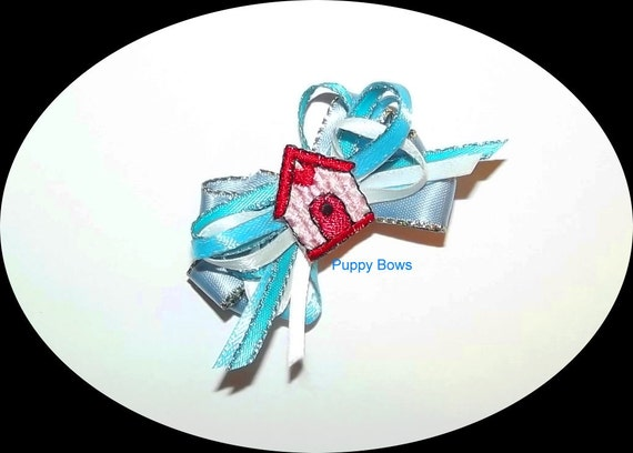 Puppy Bows ~BLUE multi loop Dog house dog bow  pet bands, hair clip or  barrette  (fb17)