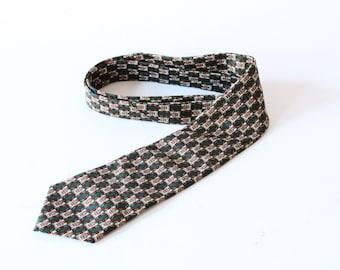 Vintage tie green red patterned design tie Emilio Vincenti