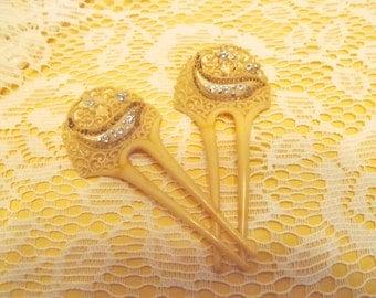 Vintage Celluloid & Rhinestone Hair Combs / Pair of Antique Hair Forks / Decorative Hair PIns