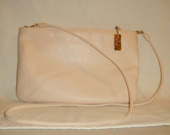 Four Seasons Pink Purse Leather Clutch or Crossbody Vintage inv1458