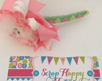Mint, Yellow, and Pink Easter Bunny 4-in-1 bow headband