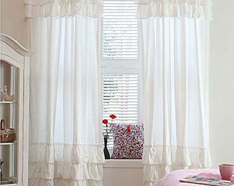 "White Twin Pack Top & Bottom Ruffled Curtains Rod Pocket 40""w x 84""L 2pcs"
