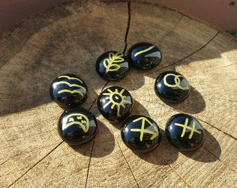 Custom Pagan wiccan 8 piece witches rune stone variation set divination cleansed (choice of colors)