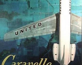Vintage United Airlines Caravelle Airliner Poster A3 Print