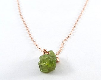 Raw Peridot Captive Stone  Necklace (Rose Gold)