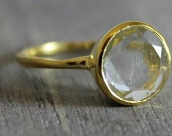 Green Amethyst Ring - Gold Ring - Gemstone Ring - Stacking Ring - Gold Plated Ring - Bezel Set Ring - Round Ring - Birthstone Ring