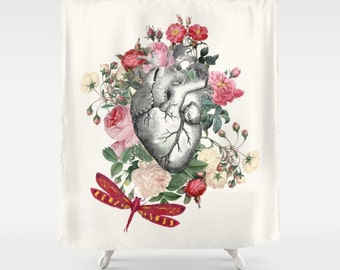 "Floral Heart Shower Curtain ""Dragon Heart"" Illustration - vintage roses, floral Heart,dragon fly love, anatomical heart, vintage"