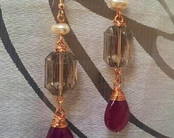 Drop earrings with drops of Korean jade