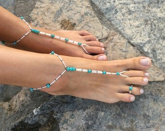 Turquoise barefoot sandals.yoga anklet..wedding barefoot sandals..beaded barefoot sandals.bridesmaid gift..beach shoes.summer accessories