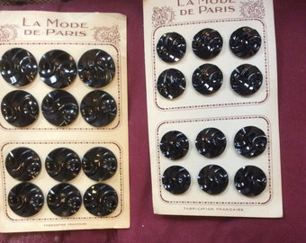 "Vintage 30's dead stock Galalithe black buttons in two sizes 'La mode de Paris"" made in France"