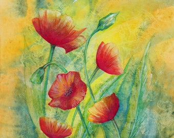 Original Aquarell, Flowers, Painting, Watercolor, Handpainted,  7,5 x11,4 inch. NOT a print. Tatiana-Art