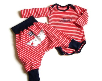 Baby, body, pants, bloomers, set, combination, embroidered, maritim, size 68