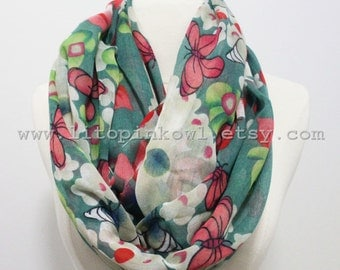 flower scarf, mint floral scarf, girly scarf, woman scarf, fashion scarves, scarf, scarf for woman, woman scarf, women scarves, gift